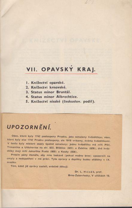 Ladislav Hosák - Historický místopis - VII. Opavský kraj