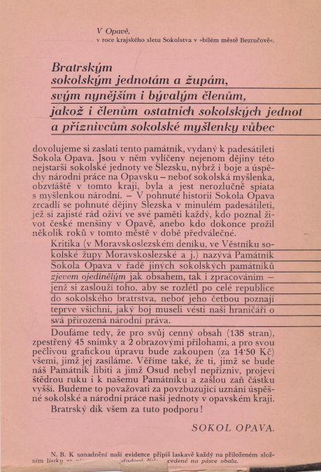 - Památník Sokola Opava 1884 - 1934