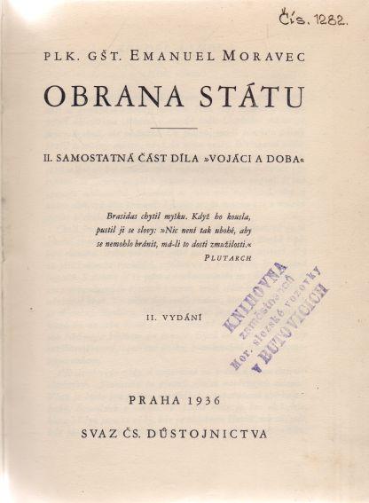 Emanuel Moravec - Obrana státu