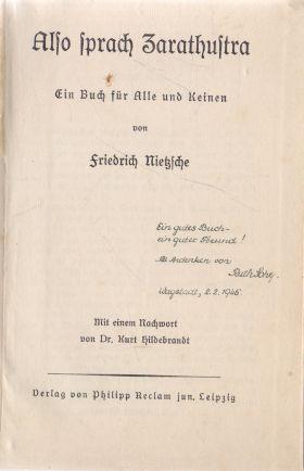 Friedrich Nietzche - Also sprach Zarathustra